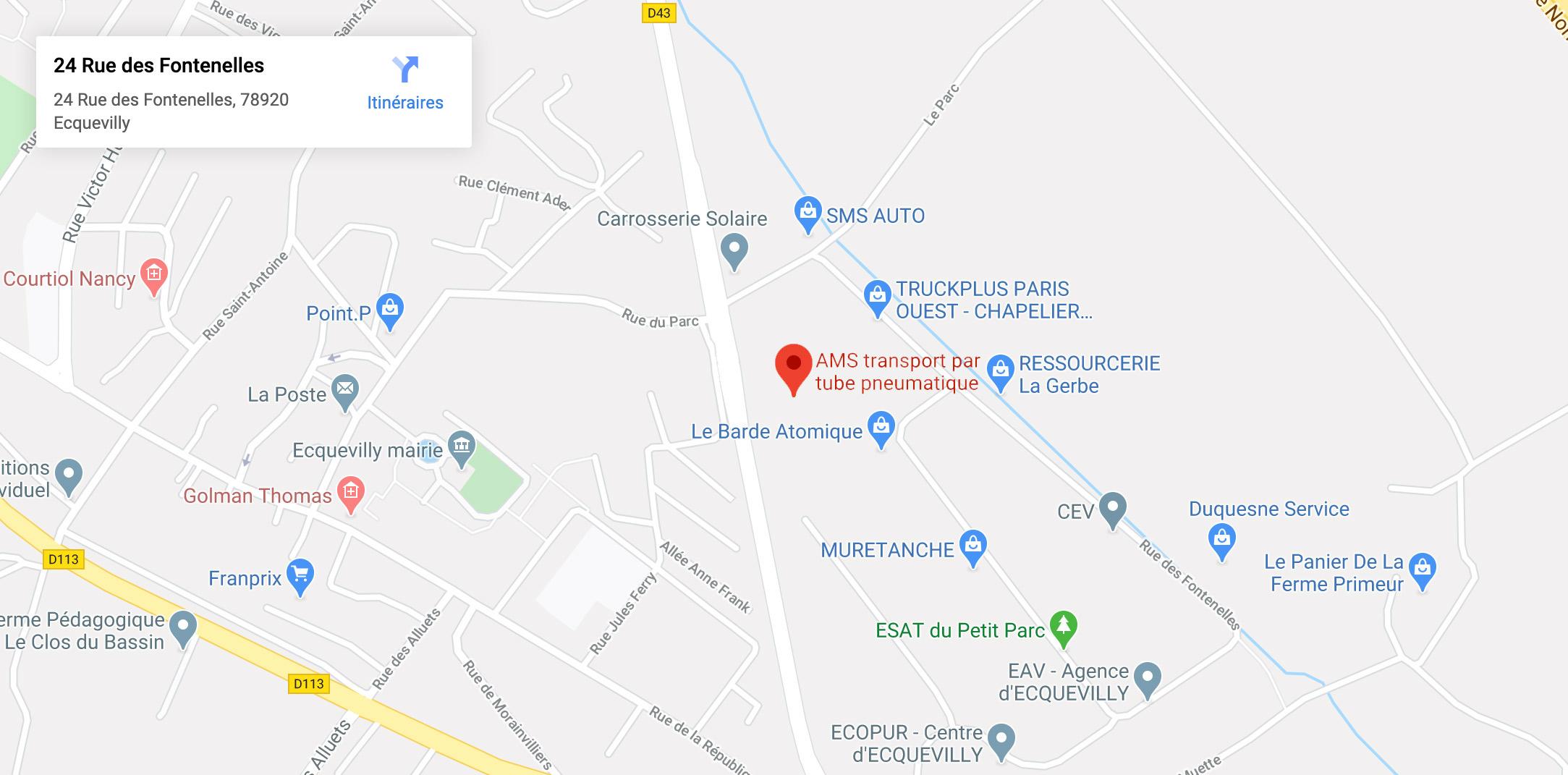 Adresse Google Maps de l'entreprise AMS, transport par tube pneumatique